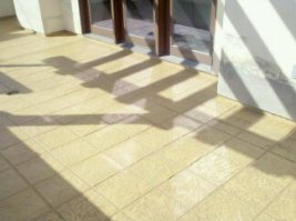 """New """"tile"""" deck gleams in the sun"""