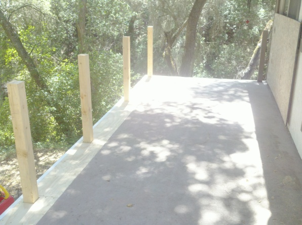 Row of new posts & plywood