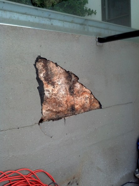 "A split in the deck membrane allowed water intrusion even after being ""repaired"" by a handyman."