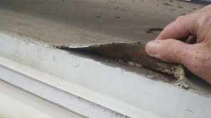 Tufflex failing on a copper flashing at a home in Morro Cove in Morro Bay.